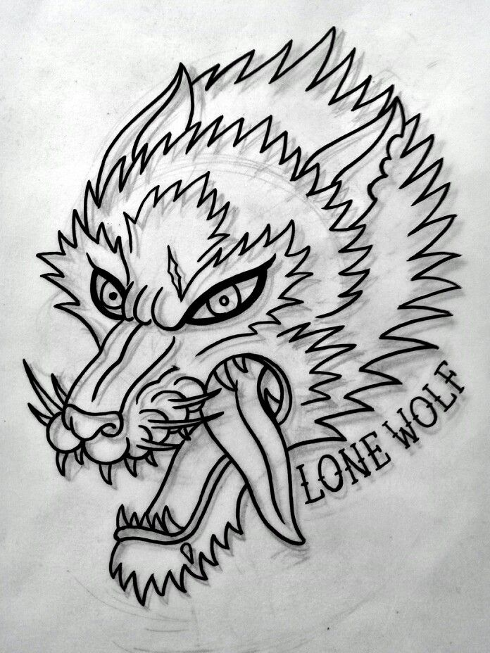 Traditional wolf tattoo flash, done by me )