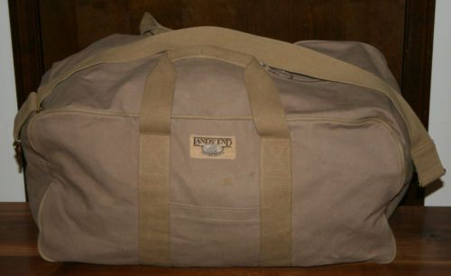 Vintage Lands  End Square Rigger Canvas Travel Duffle Bag carry on tote  luggage 37835a78395ea