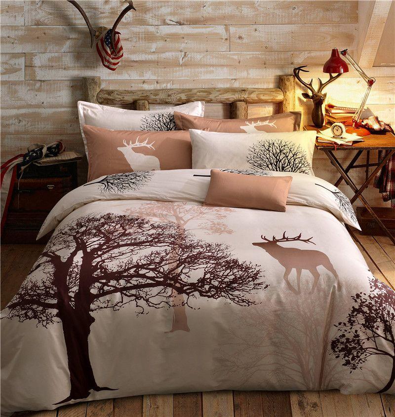 4pcs 100 Cotton Tree Deer Printing Bedding Set Single Double Queen Twin Size Kids Bed Set Duvet Cov King Size Duvet Covers King Size Duvet Queen Bedding Sets