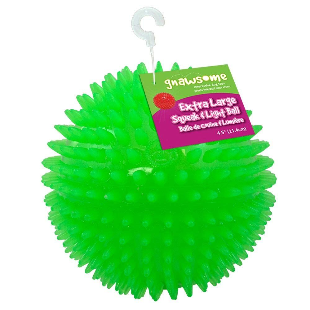 Gnawsome 4 5 Spiky Squeak And Light Ball Dog Toy Extra Large
