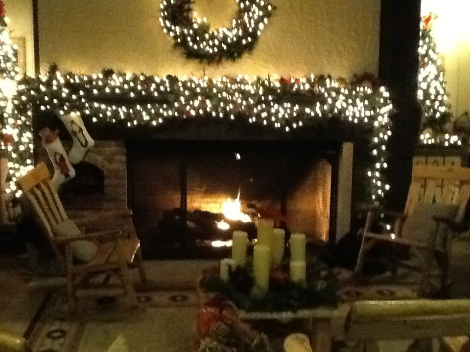 Come in the Shawnee Lodge and get warm by the fire.