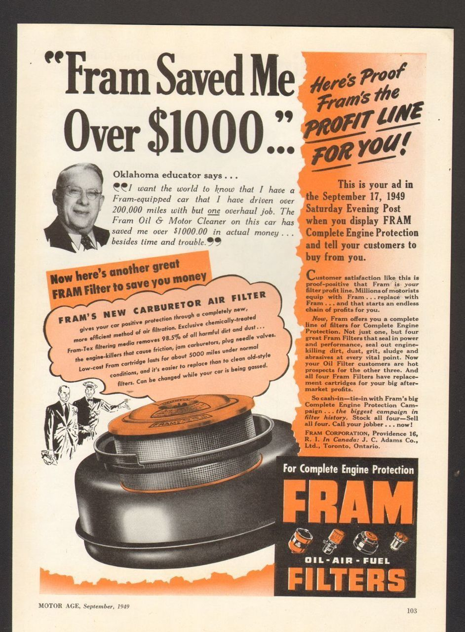 1949 Print Advertisement AD Fram Oil Filters Carburetor
