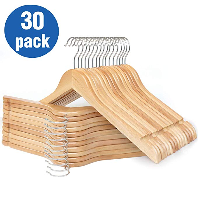 Amazon Com Hklive Solid Wooden Hangers Adult Size Non Pants Bar