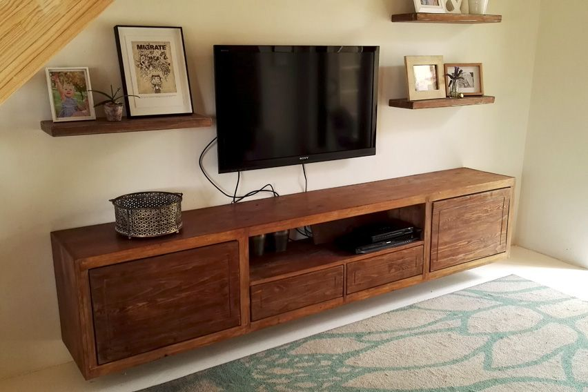 Reclaimed Pine Floating Tv Unit And Shelves Made In South Africa