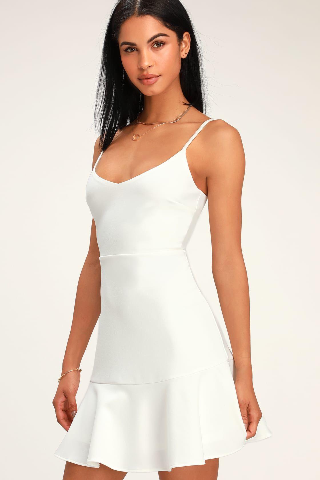 5f44582d82b Cute White Mini Dress - Little White Dress - Fit and Flare Dress