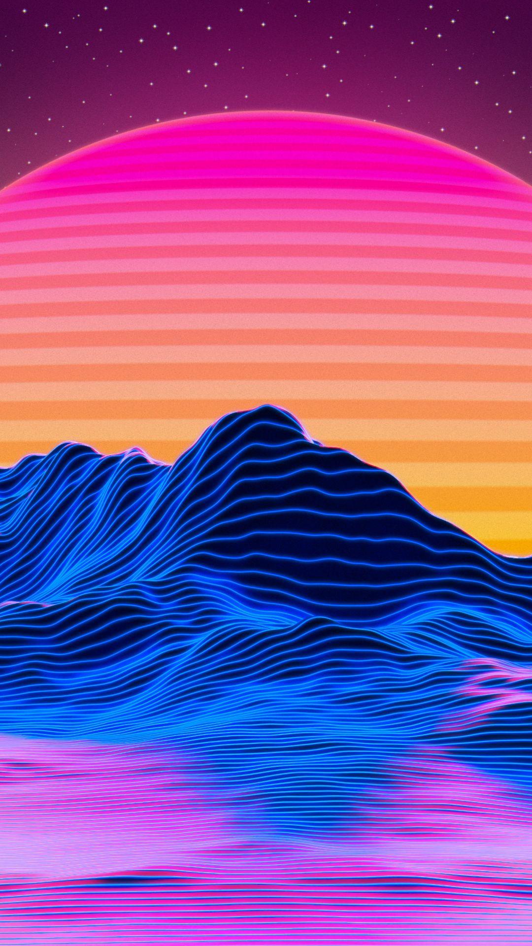 1080x1920 Mountains Landscape Retro Art Sunset Wallpaper Vaporwave Wallpaper Sunset Wallpaper Retro Art