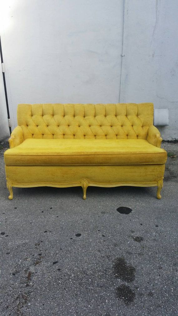 Vintage Tufted Velvet Yellow Couch Love Seat Sofa By Feelinvintage