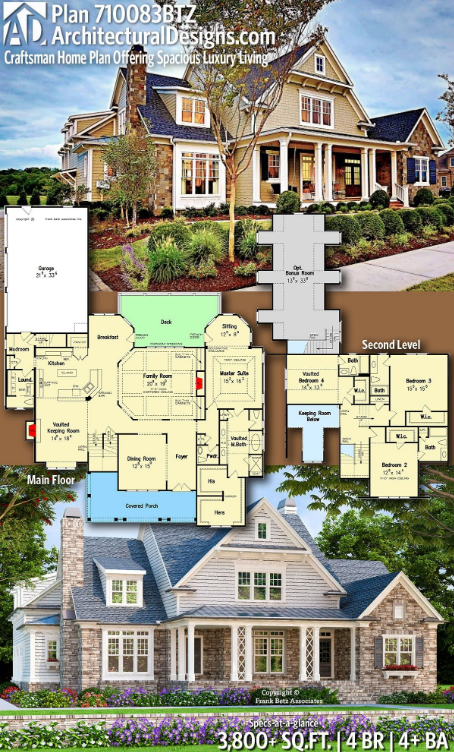 23 Plan 710083btz Craftsman Home Plan Offering Spacious Luxury Living In 2020 Craftsman House Plans House Plans Craftsman House