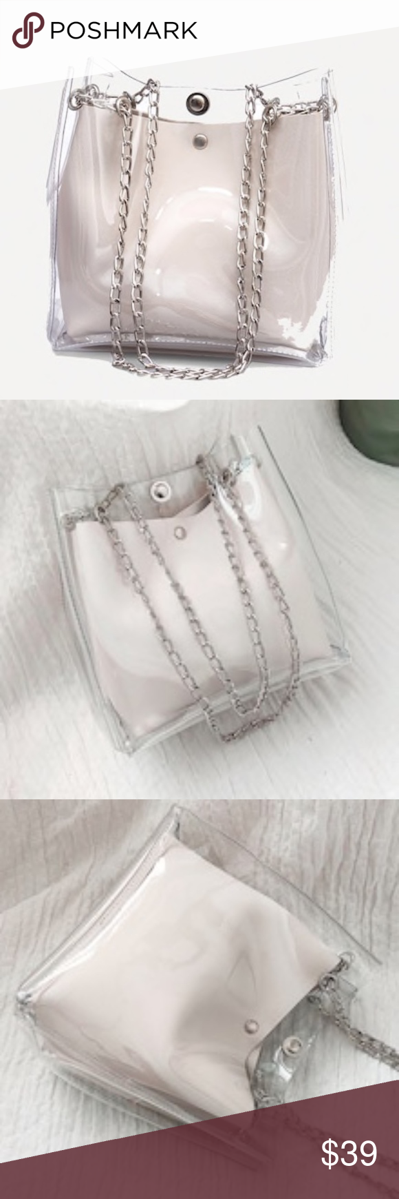 Clear Chain Tote Bag with Inner Removable Pouch SUPER CUTE!! Clear Chain Tote with Vegan Faux Leather Removable Pouch!! Great for Concerts, Stadium/Arena Games or a Night/Day Outing!! Magnetic Closure Color: Clear w/Off White Pouch, Silver Chain Strap Strap: Chain Bag Size: 12W x 8 1/4 H x 4 1/2 D Pouch Size: 10W x 7 1/4H x 3D Handle Length: 8 Emma Bags Totes #chainbags