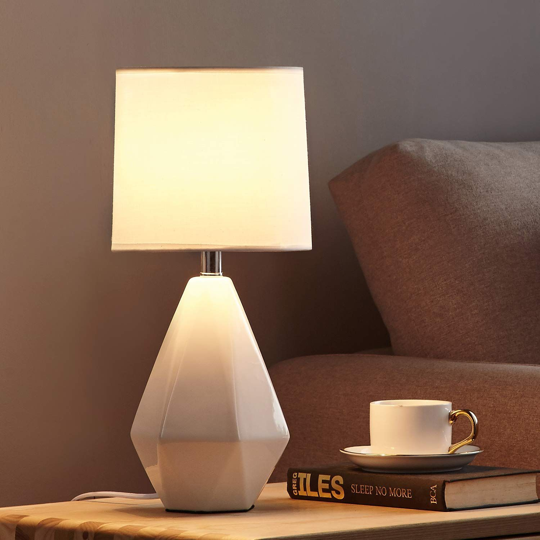 Modern Ceramic Small White Table Lamp Night Light Lamp Irregular