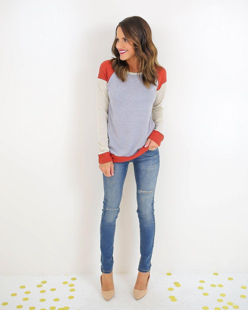 Marianne Long Sleeve Color Block Top