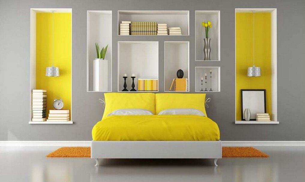 Bedroom Grey Yellow Bedroom Ideas With White Framed Bed Yellow ...