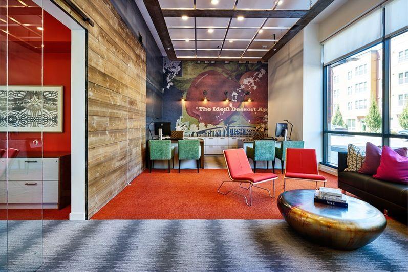 Portland Interior Design Firm Uses Creative Color Solutions For Rowlock Leasing Office Designrowlock Wayfinding Corridor