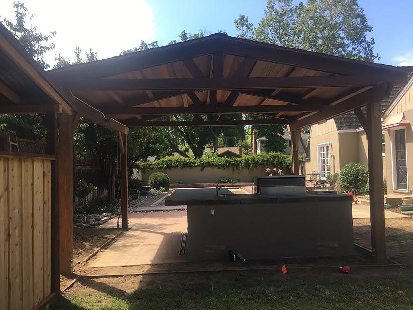 Barbecue Island And Pergola In San Jose Ca Backyard Backyard Paradise Pergola