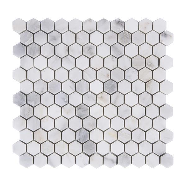 1 Hexagon Mosaic Carrara Carrera Honed Marble Hexagonal