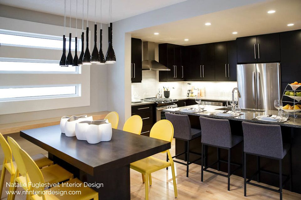 Black + Yellow Kitchen, Dining Room And Bathrooms By Calgary Interior  Designer