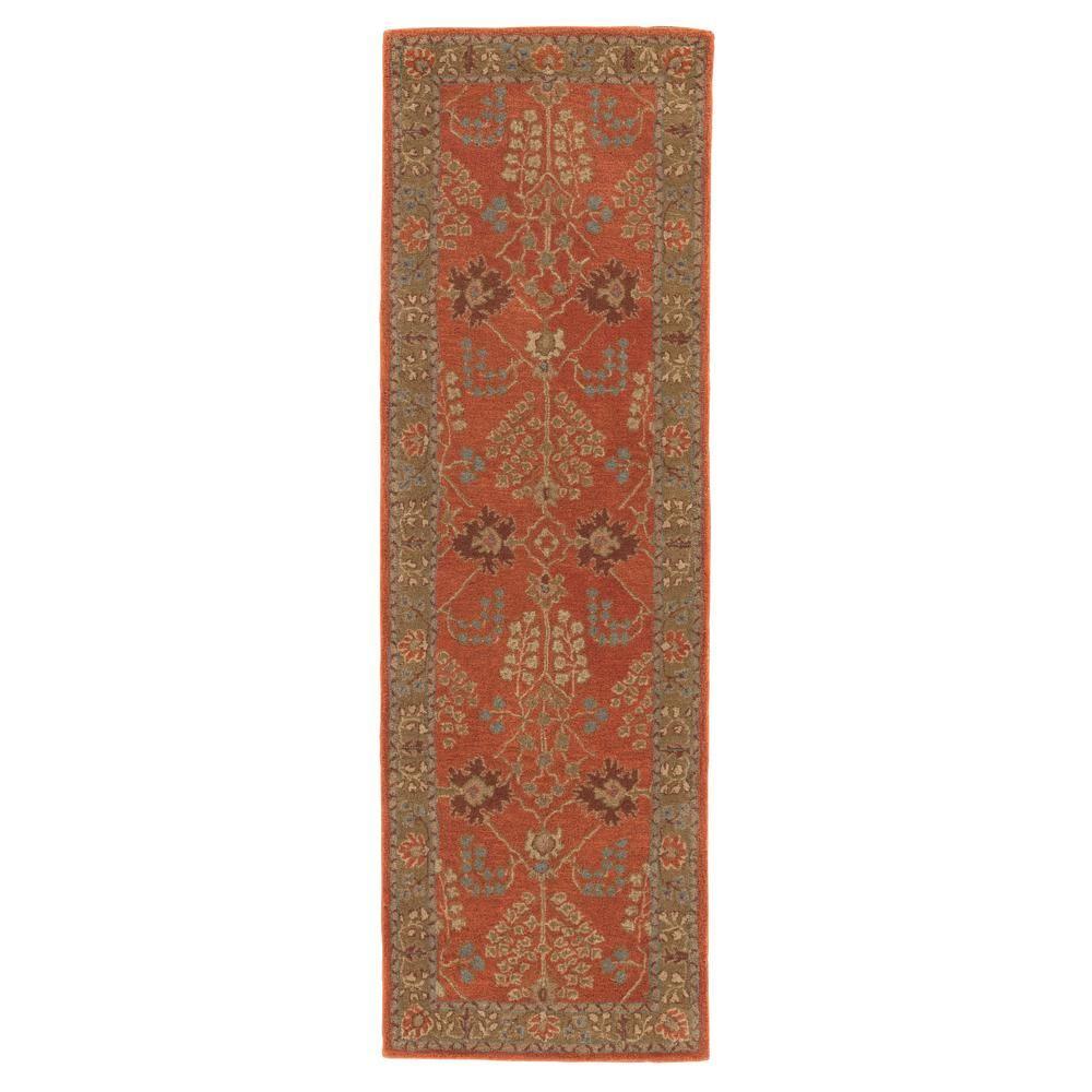 Jaipur Rugs Burnt Ochre 3 Ft X 12 Ft Oriental Runner Rug Rug103490 Wool Area Rugs Floral Rug Rug Runner