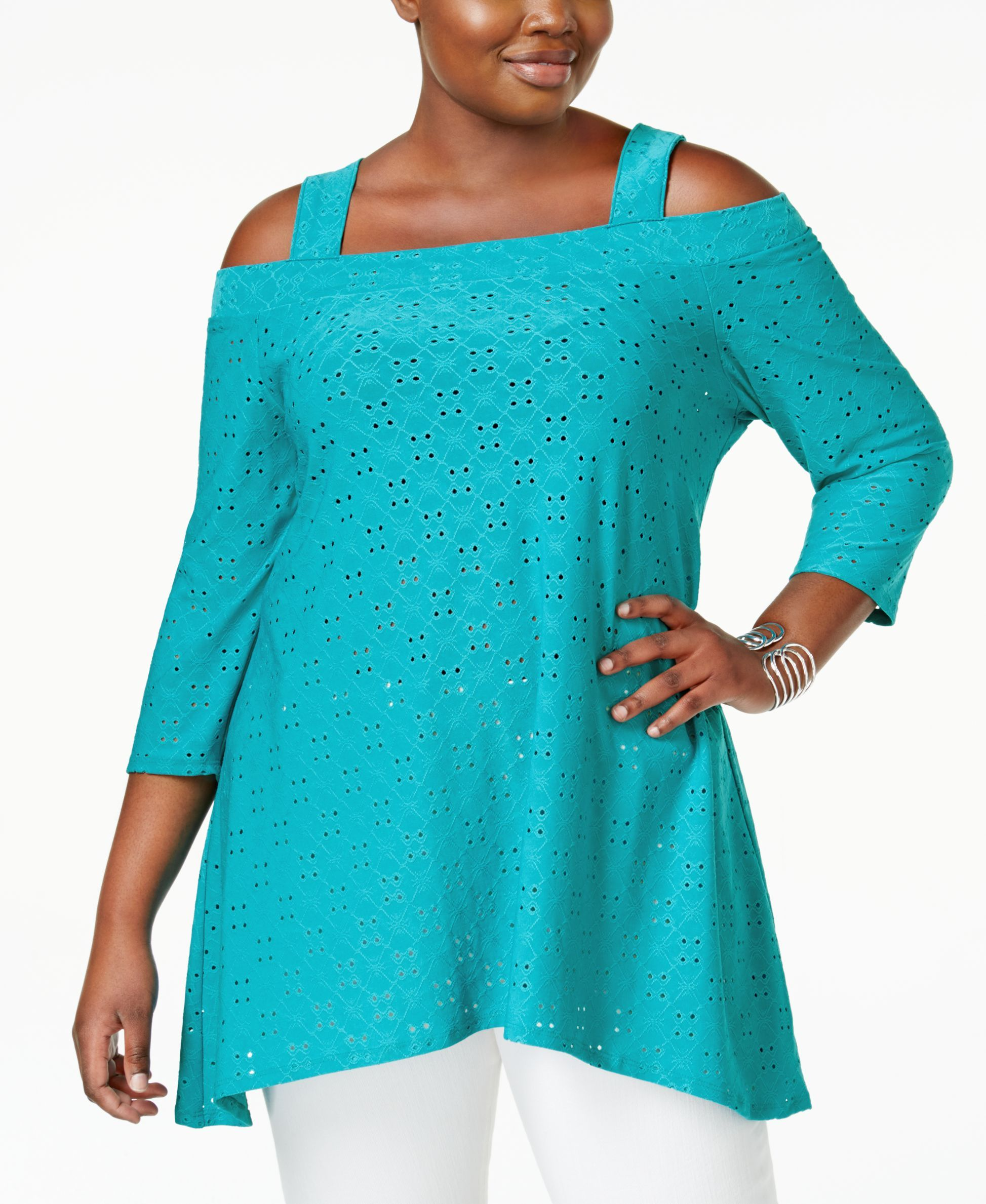 4e89ce4743b Ny Collection Plus Size Eyelet Cold-Shoulder Top