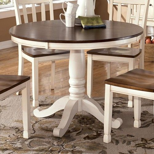 Ashley Furniture Joliet: Whitesburg Two-Tone Round Table With Pedestal Base By
