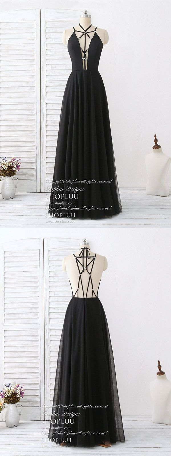 Black tulle backless long prom dress black evening dress in
