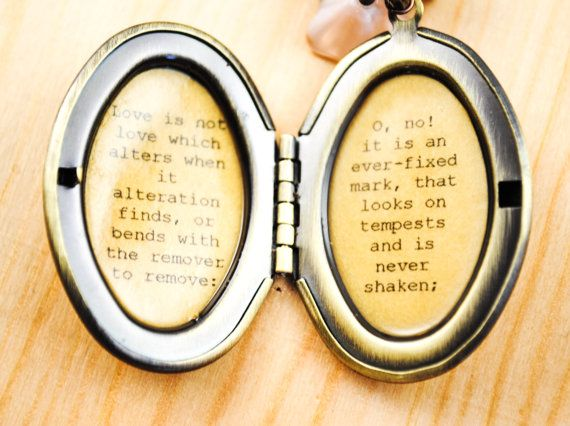Fallon Or Carrie Shakespeare Quote Locket Sonnet 116 Love By