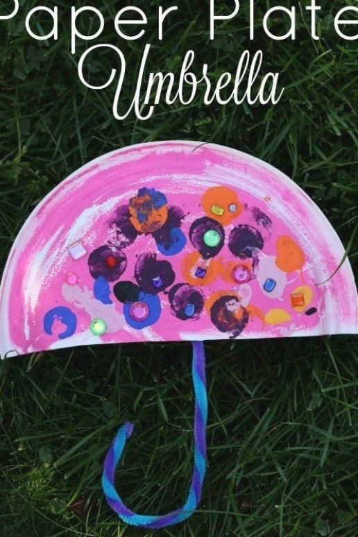 Paper Plate Umbrella - an easy Letter U craft for toddlers and preschoolers Great rainy