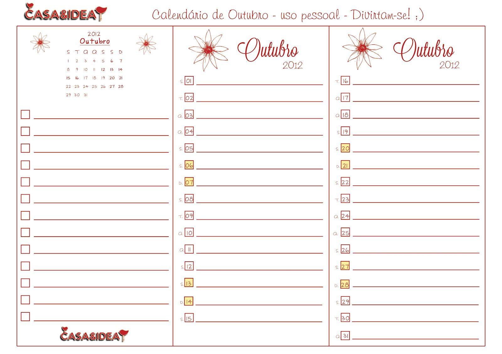 CASA: Mini Calendário de Outubro 2012 - Para imprimir - Uso pessoal