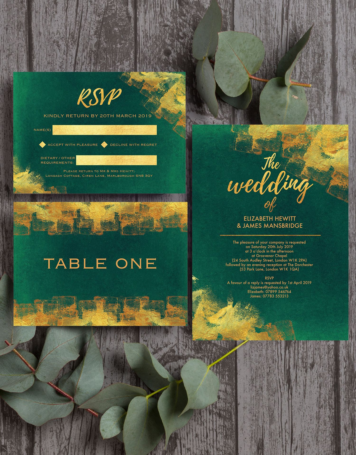 Emerald Green And Gold Wedding Stationery Modern Design