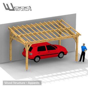 Appentis 1 pan l wood structure abris garage carport for Abri bois kit