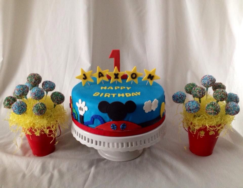 Mickey Mouse Clubhouse Cake and cake pop arrangements