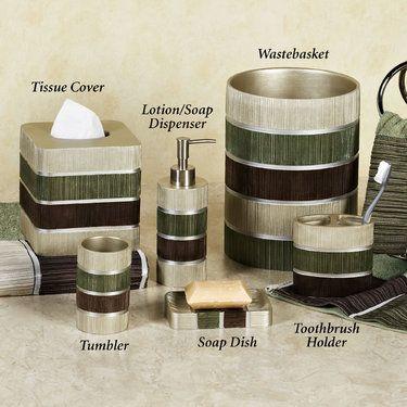 Modern Line Sage Striped Bath Accessories Green Bathroom