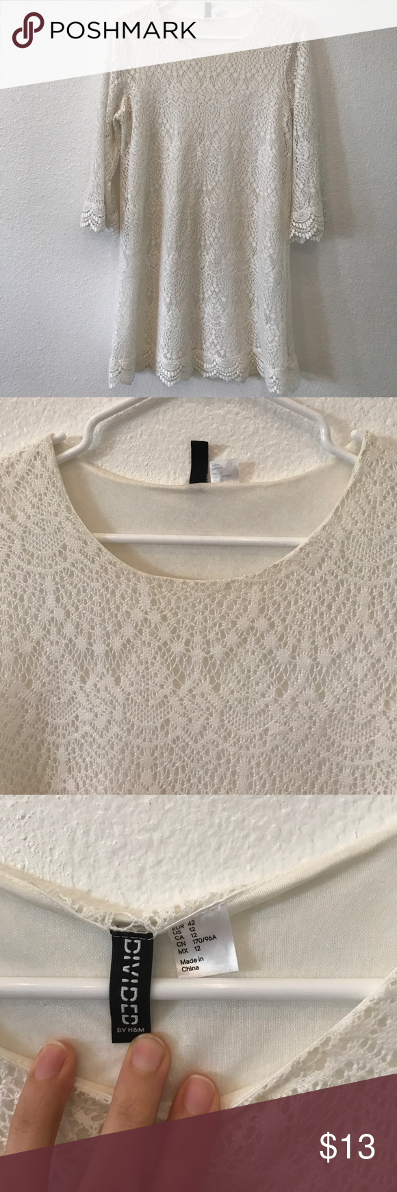 H&m lace dress white  HuM women size  white lace dress with slipUsed  White lace