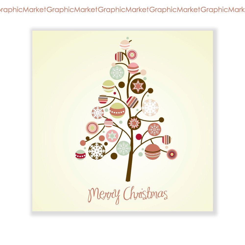 Xmas Tree Card And Clip Art Digital Collage Printable Retro