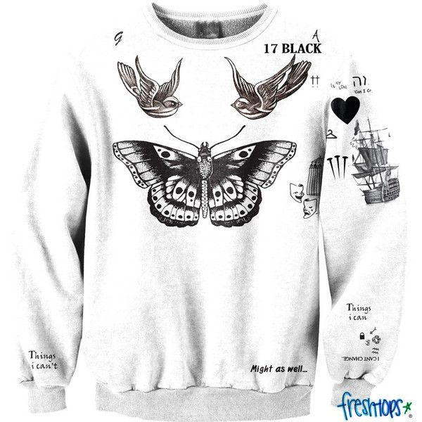 Cute Style Tattoo Crewneck (1.490 ARS) ❤ liked on Polyvore featuring tops, sweaters, harry styles, one direction, long sleeves, crew sweater, special occasion tops, crewneck sweaters, holiday sweaters and evening sweaters