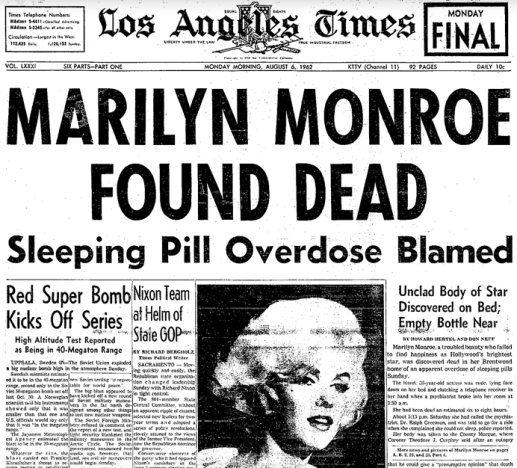 Image result for marilyn monroe found dead