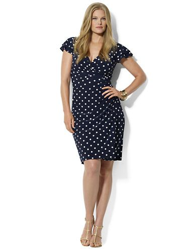 Brands | Dresses | Plus Polka Dot Matte Jersey Empire Dress ...