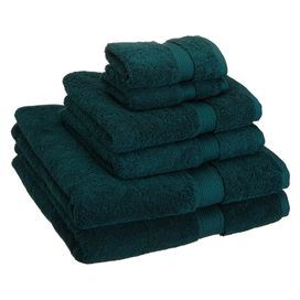 Set Of 6 Egyptian Cotton Towels In Teal Includes Two Bath Towels
