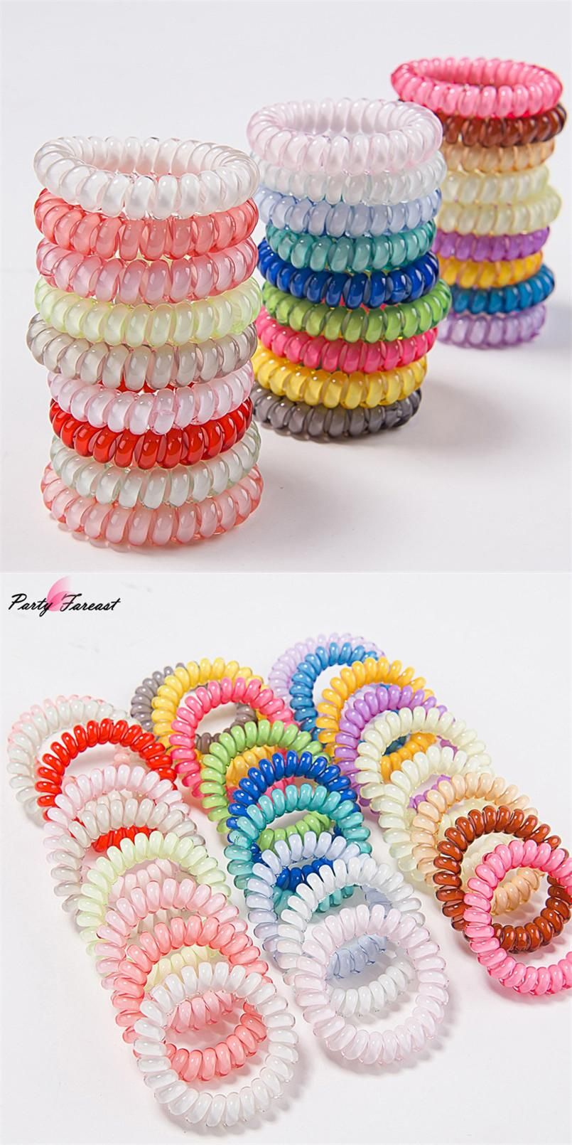 PF Candy Color Hair Bands for Girls Elastic Telephone Wire Scrunchie Hair  Tie Ring Rope Headbands for Women Accessories TS0554 82bc46b33e5