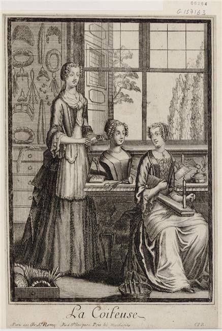 """""""La Coifeuse"""" (recueil, Collection Michel Hennin, estampes relatives à l'histoire de France, période: 1695) - Paris, Bibliothèque Nationale de France"""