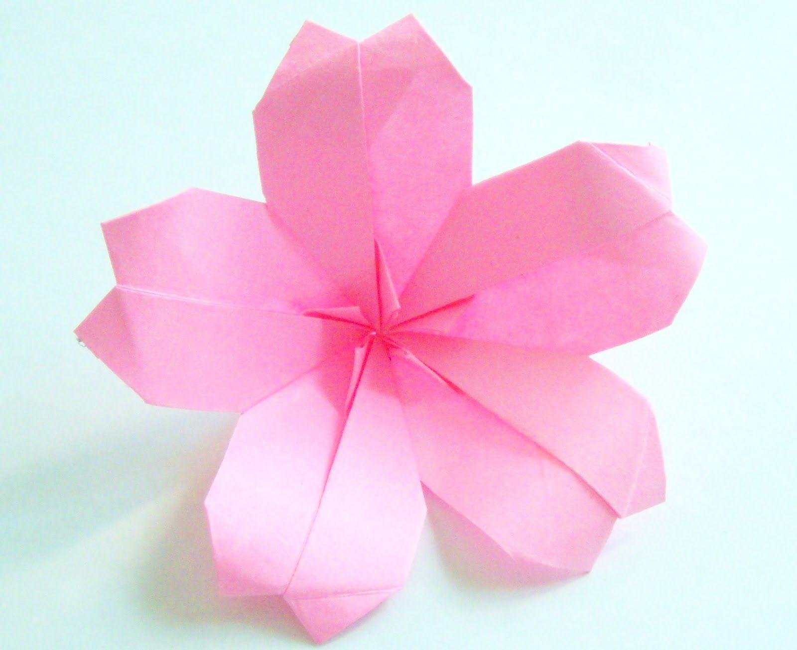 Origami origami origami cherry blossom paper craft for Paper rose origami