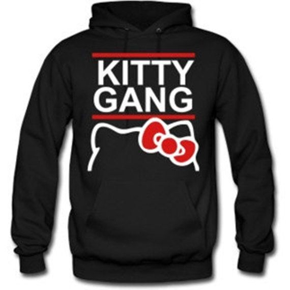 64a586233cb Hello  Kitty Gang  Sweatshirt Hoodie in Black for Adults