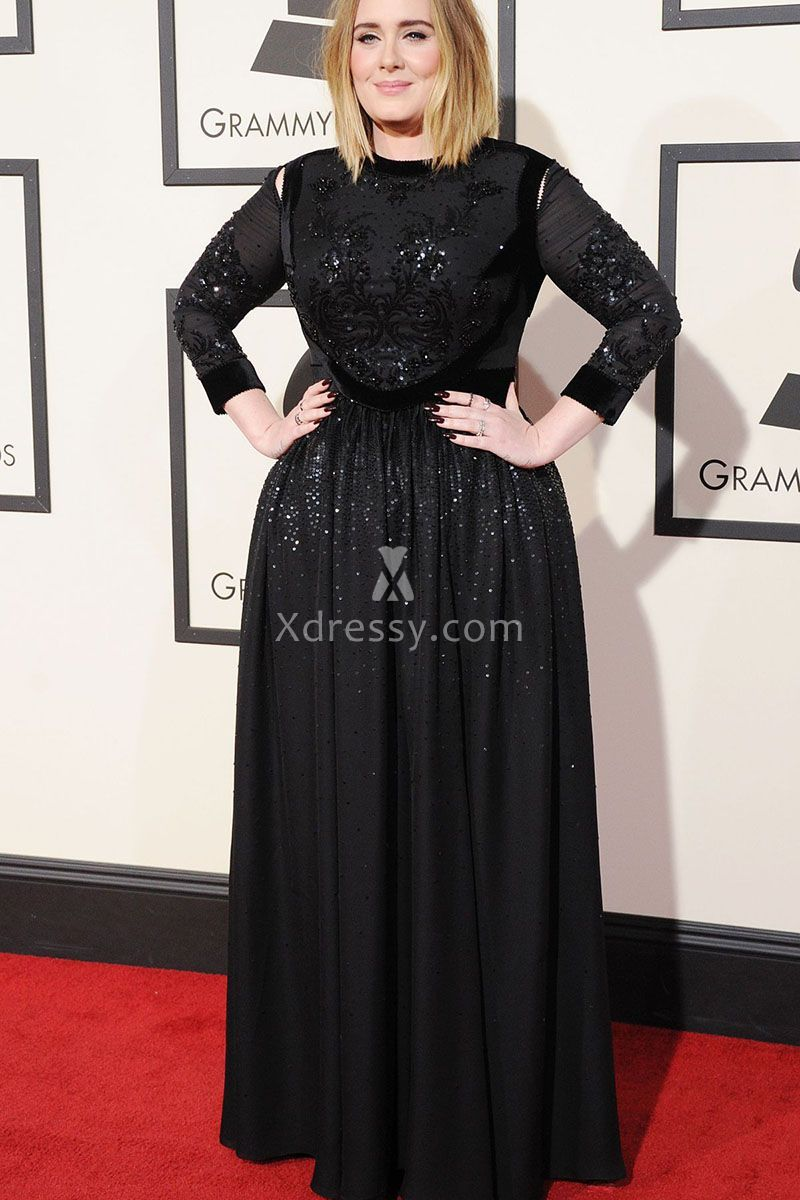 Adele Plus Size Sequin Black Long Sleeve Prom Dress Grammys 2016 ...