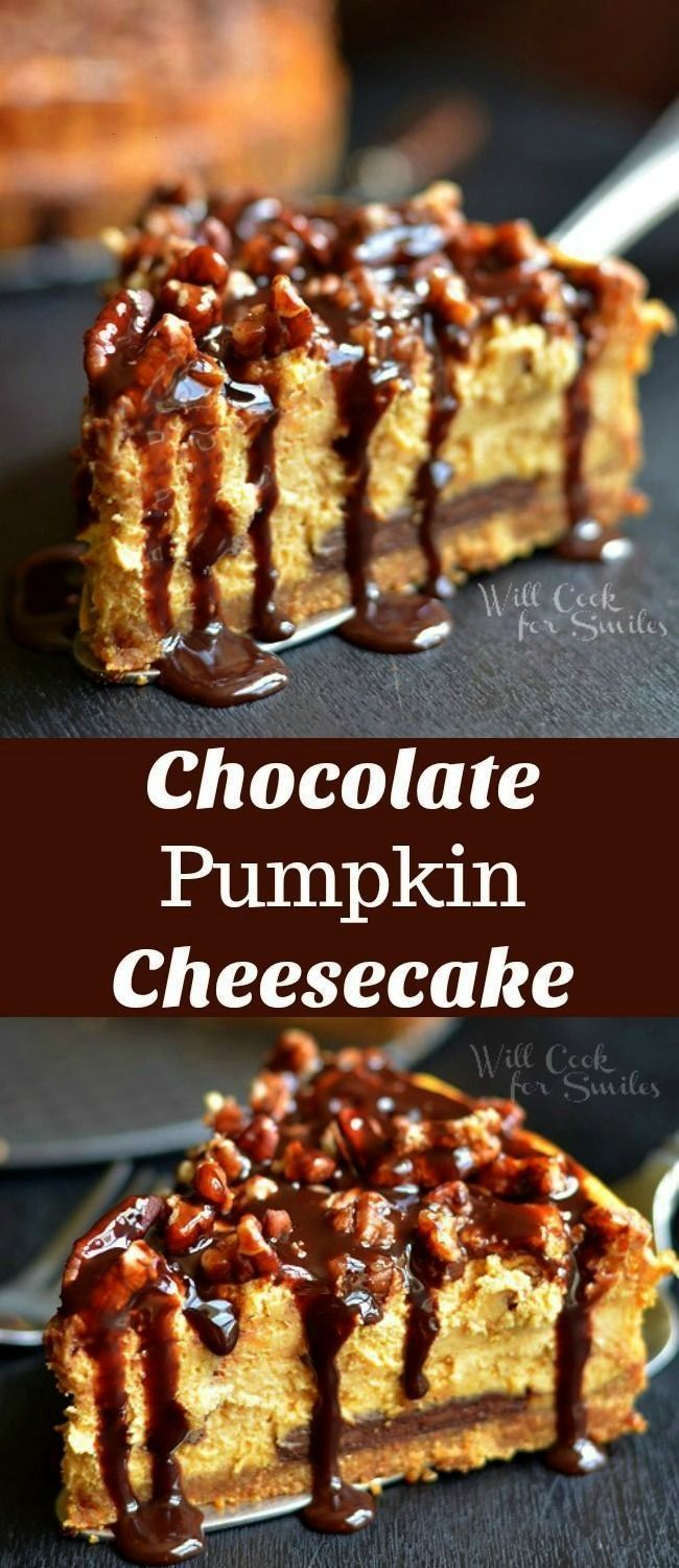 Chocolate Cheesecake This homemade pumpkin cheesecake recipe is amazing A smooth pumpkin cheesecake made with Hersheys chocolate bar on the bottom topped with pecans and...