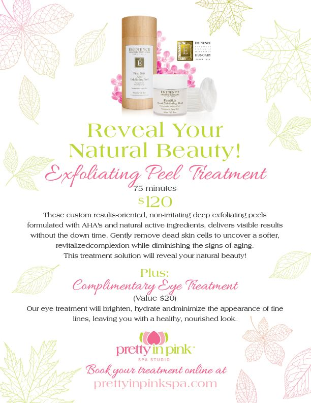 These custom results-oriented, non-irritating deep exfoliating peels formulated with AHA's and natural active ingredients, delivers visible results without the down time. Gently remove dead skin cells to uncover a softer, revitalizedcomplexion while diminishing the signs of aging. This treatment solution will reveal your natural beauty!  Book Now: http://www.prettyinpinkspa.com/the-spa/adult-services/adult-services-registration/