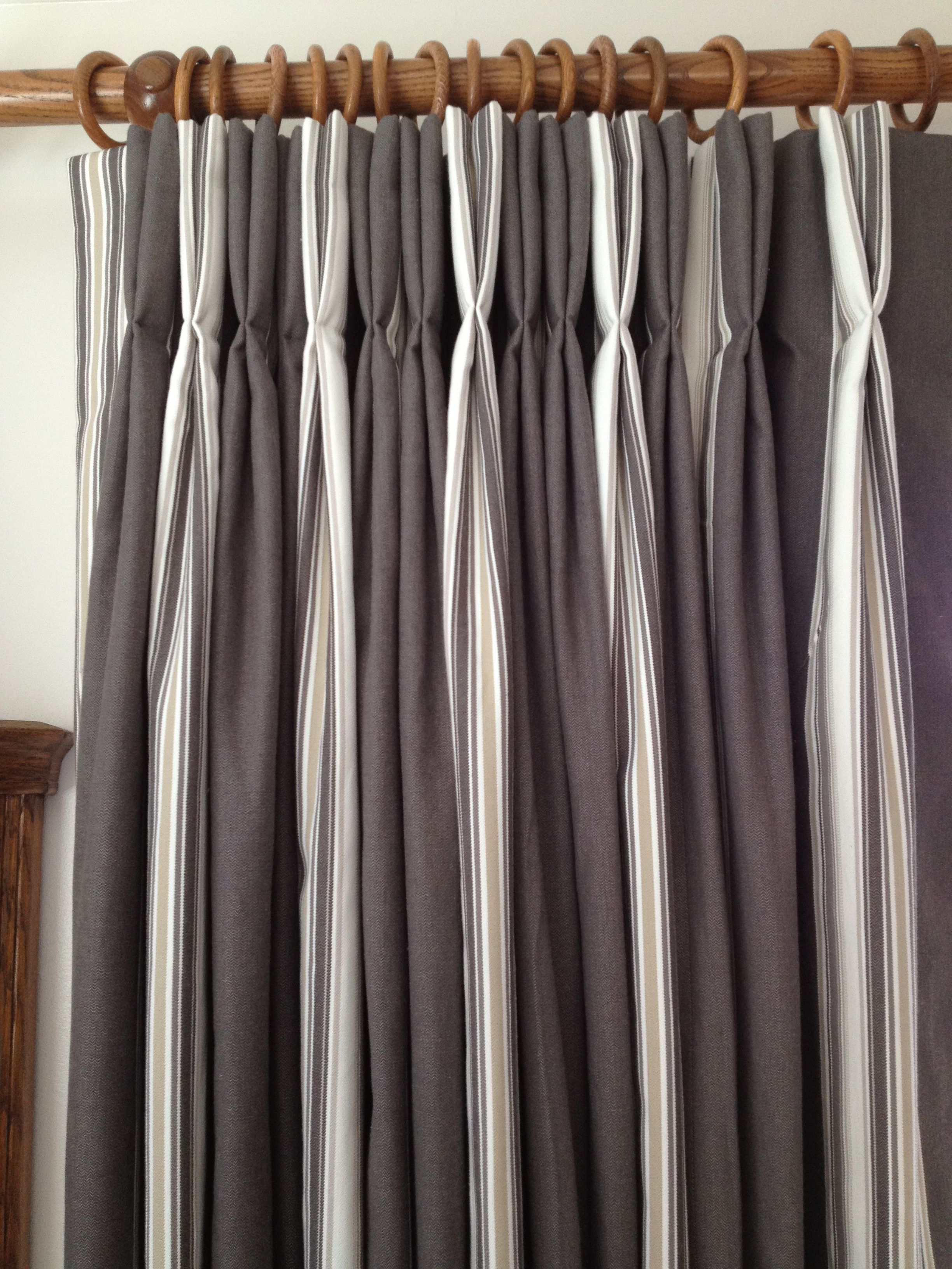 Stripe curtains, hand finished with double pinch pleat heading ... for Pencil Pleat Curtains On Track  61obs
