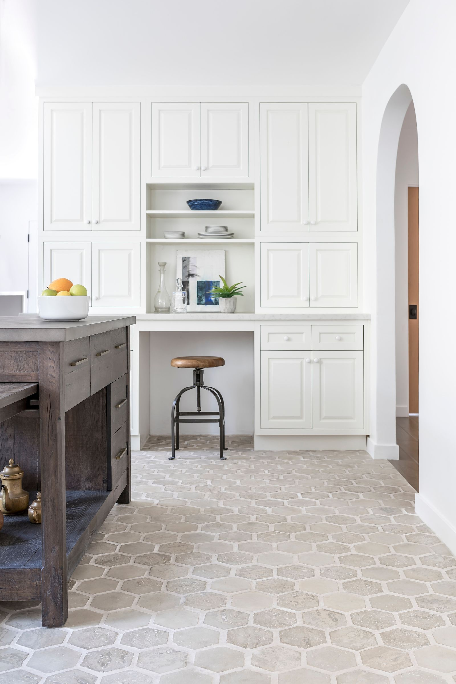 Hexagon Concrete Tile Floor In A Neutral Kitchen Using The Artillo Series From Arto Brick This California Kitch In 2020 Concrete Tile Floor Home Kitchen Floor Tile