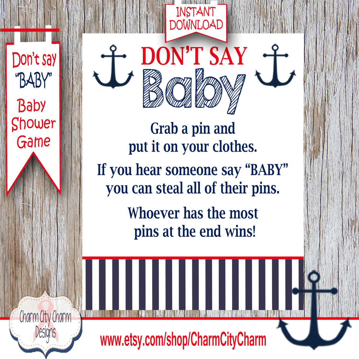 Baby Shower Clothes Pin Game Nautical Don't Say Baby Baby Shower Game Clothes Pin Game Nautical