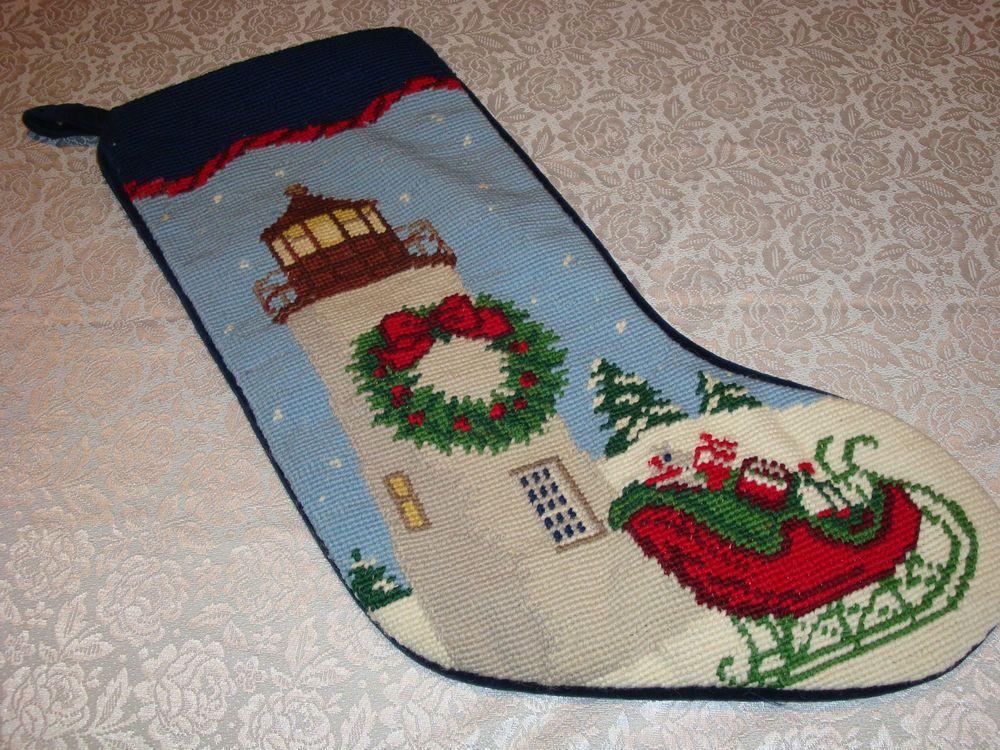 Vintage Lands' End Blank Needlepoint Christmas Stocking