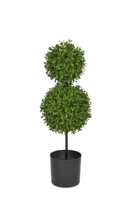 """$39- 22""""Artificial Boxwood Double Ball Topiary in Pot Leaves color: Light Green"""