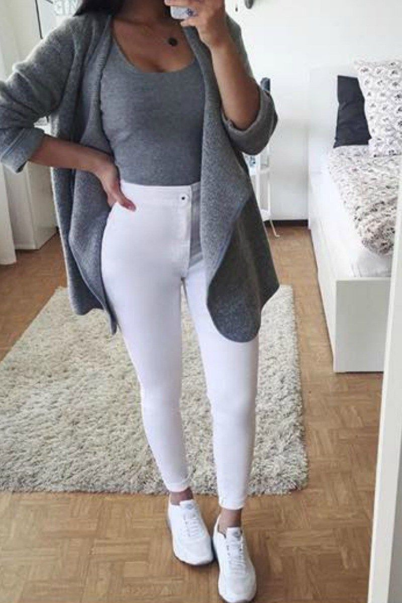 65 Cute Fall Outfits for School You NEED TO WEAR NOW | Grey cardigan White jeans and Bodysuit